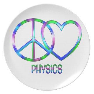Physique brillante d'amour de paix assiette