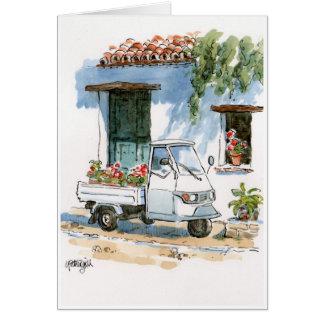 Piaggio et géraniums - carte de voeux