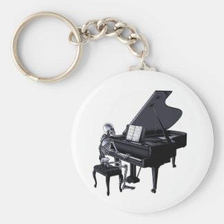 Pianiste squelettique porte-clé rond
