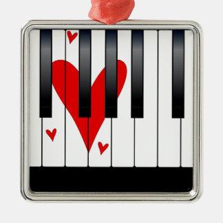 Piano d'amour ornement carré argenté