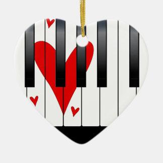 Piano d'amour ornement cœur en céramique