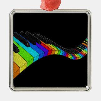 Piano d'arc-en-ciel ornement carré argenté
