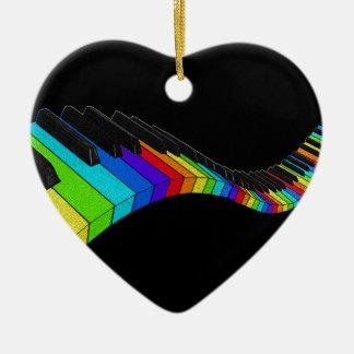 Piano d'arc-en-ciel ornement cœur en céramique