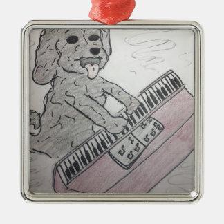 piano de chiot ornement carré argenté