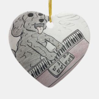 piano de chiot ornement cœur en céramique