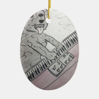 piano de chiot ornement ovale en céramique