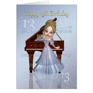 Piano et carte d'anniversaire de musique 13ème
