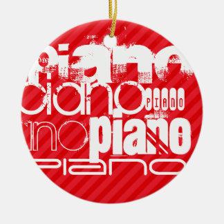 Piano ; Rayures de rouge d'écarlate Ornement Rond En Céramique