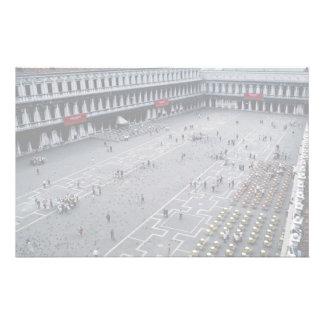 Piazza San Marco avec le café extérieur sur la dro Papier À Lettre Customisé