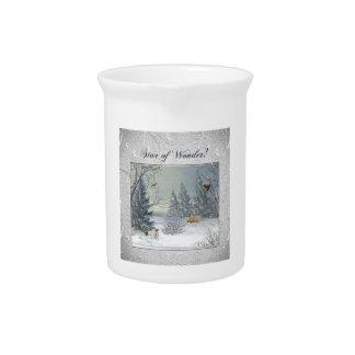Pichet Animaux dans la forêt d'hiver, arbre avec