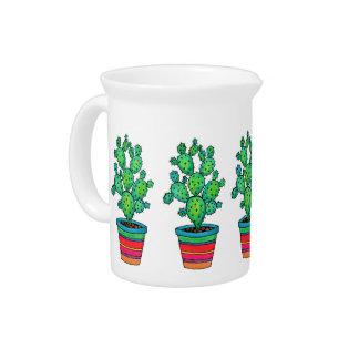 Pichet Cactus magnifique d'aquarelle dans le beau pot