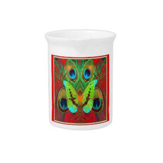 Pichet cadeaux verts de paon de papillon