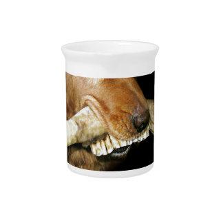 Pichet Chien drôle avec l'os des dents du cheval