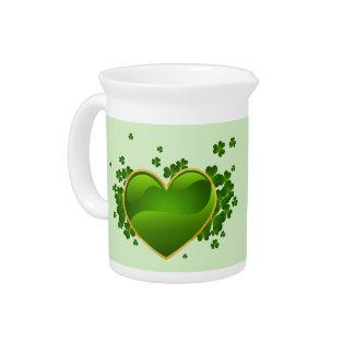 Pichet Coeur vert Or-Équilibré avec des shamrocks