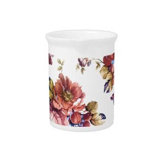Pichet conception florale de texture de motif d'art