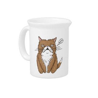 Pichet Dessin grincheux drôle de chat de Meh