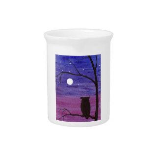 Pichet Hibou et pleine lune
