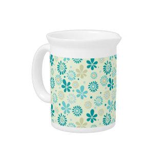 Pichet Motif de fleurs turquoise mignon d'abrégé sur bleu