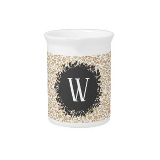 Pichet Motif floral d'or avec le monogramme gris-foncé de