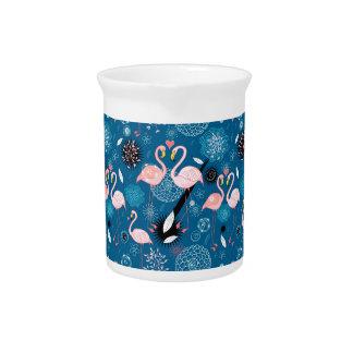 Pichet Motif mignon de flamants de fleurs
