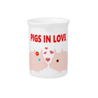 Pichet porcs dans l'amour