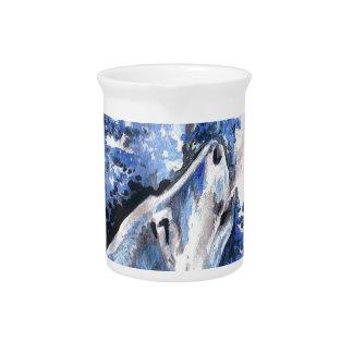 Pichet Souffle bleu de froid de loups d'hiver de loup de