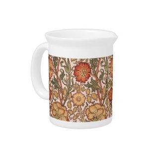 Pichet Tissu rose vintage de concepteur de motif floral