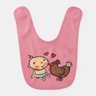 Picotin mignon de poulet de Brown sur la joue pour Bavoirs De Bébé