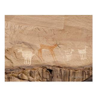 Pictographes d'antilope, de moutons et de chèvres carte postale