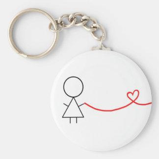 Pièce de fille de porte - clé de couples porte-clé rond
