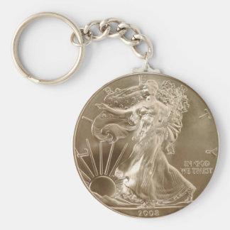 Pièce de monnaie de porte - clé d'argent porte-clé rond