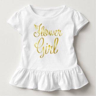 Pièce en t de blanc de ruche d'or de demoiselle de t-shirt pour les tous petits