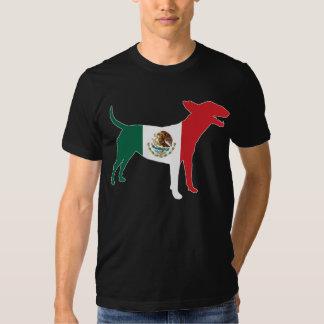 Pièce en t de bull-terrier anglais/drapeau mexicai t-shirt