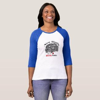 Pièce en t de douille du raglan 3/4 de dames t-shirt