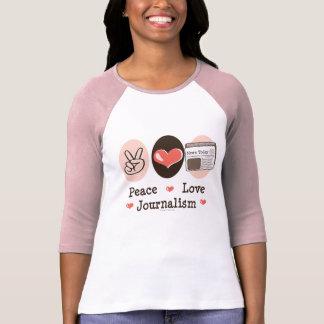 Pièce en t de raglan de journalisme d'amour de t-shirt