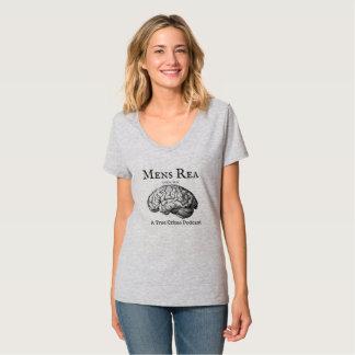 Pièce en t de V-Cou de dames avec le logo T-shirt