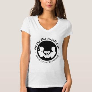 Pièce en t du V-cou des femmes T-shirt