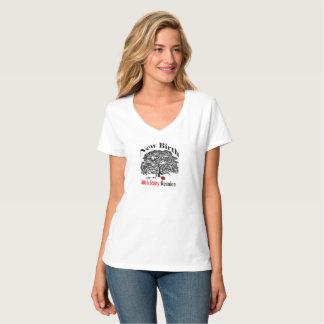 Pièce en t en vé de cou de dames t-shirt