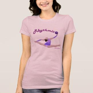 Pièce en t fendue de saut de boule de gymnastique t-shirt