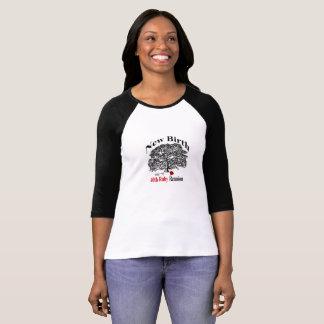 Pièce en t noire de douille du raglan 3/4 de dames t-shirt