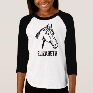 Pièce en t noire et blanche d'amant de cheval t-shirt