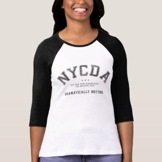Pièce en t noire raglane de femmes de NYCDA T-shirt
