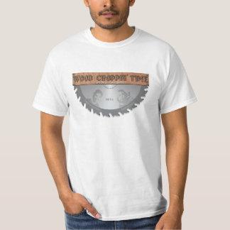 Pièce en t officielle de logo de temps en bois de t-shirt