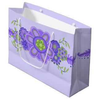 Pièce maîtresse assez pourpre de fleurs grand sac cadeau