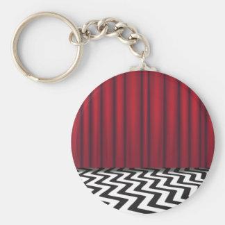 Pièce noire de rouge de loge porte-clé rond
