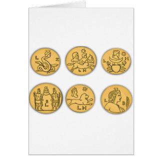 Pièces de monnaie antiques carte de vœux