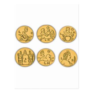 Pièces de monnaie antiques cartes postales