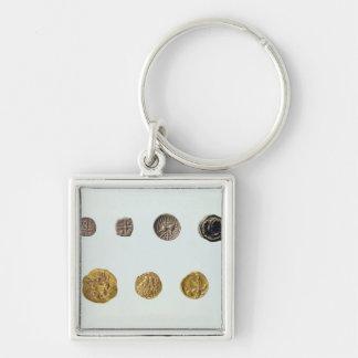 Pièces de monnaie gauloises, c.750-0 AVANT JÉSUS C Porte-clé Carré Argenté