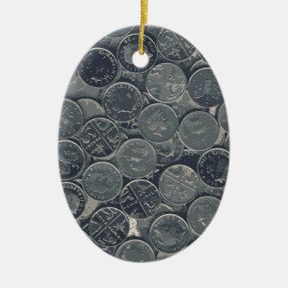Pièces de monnaie ornement ovale en céramique