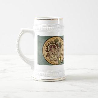 Pièces de visage d'horloge, roses et industrielles mug à café